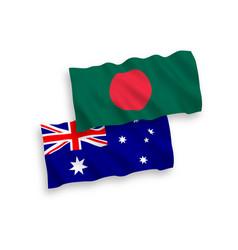 Flags australia and bangladesh on a white vector