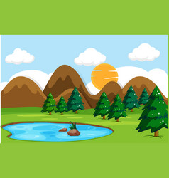 flat nature landscape day time vector image