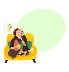 Flat style woman having flu wrapped in blanket vector