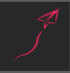 flying paper airplane red neon lines glowing vector image