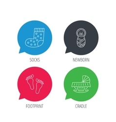 Footprint cradle and newborn baby icons vector