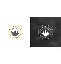 forest camping logo emblem vector image