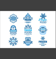 frozen food premium product set of logo templates vector image