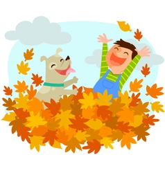 Fun of autumn vector