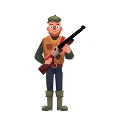 Funny hunter in hunting vest and rubber boots vector image