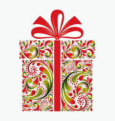 gift box on white background christmas greeting vector image