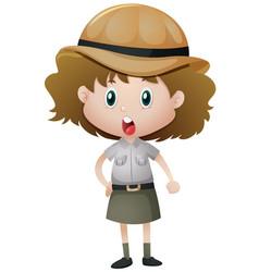 girl in safari outfit vector image