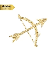 Gold glitter icon of bow with arrows vector image
