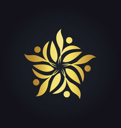 gold leaf decoration ecology logo vector image
