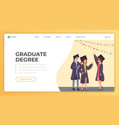 Graduate degree landing page template vector