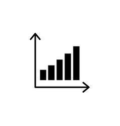 growing graph icon black on white vector image