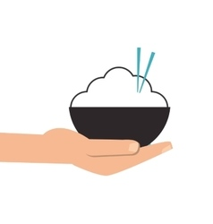 hand holding rice bowl with chopsticks icon vector image