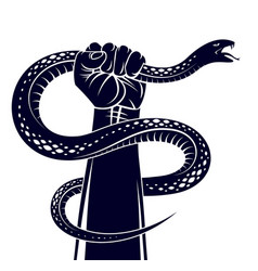 Hand squeezes a snake fight against evil devil vector