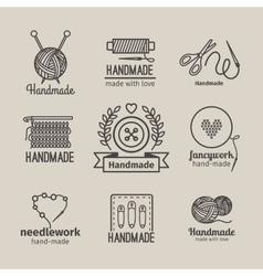 Handmade line vintage logo set vector