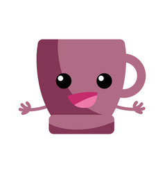 Happy coffee cup kawaii with arms vector