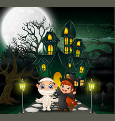 Happy halloween in front of the haunted house with vector