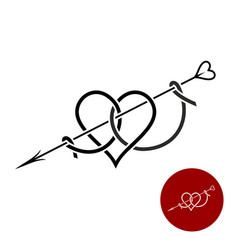 Heart with arrow tattoo style linear logo vector
