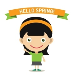 Hello Summer cartoon girl with hands up vector image