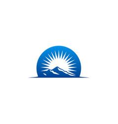 High mountain abstract sun logo vector