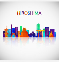 Hiroshima skyline silhouette in colorful vector