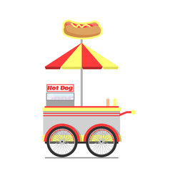 hot dog cart for street food vector image