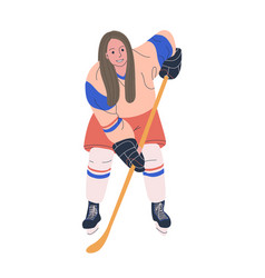 Ice hockey adult female player vector