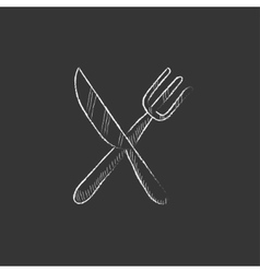 Knife and fork Drawn in chalk icon vector