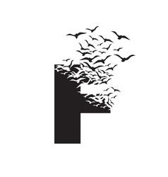 Letter f with effect destruction dispersion vector