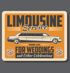 Limousine wedding auto rental service vector