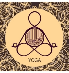 Logo template of yoga pose vector image
