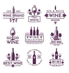 logotypes or badges of wine brands vector image