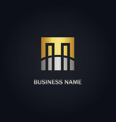 m initial business gold logo vector image