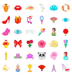 make up icons set cartoon style vector image