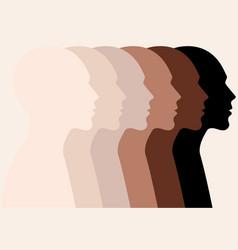 Male faces profile silhouettes skin colors vector
