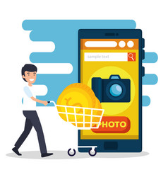 Man with shoppping car and smartphone website sell vector
