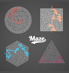 Maze set labyrinth puzzle with solution vector