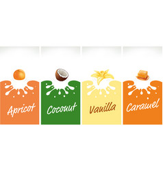 Milk splash with caramel coconut vanilla vector