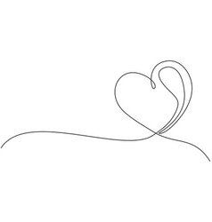 one single line drawing cute love heart shaped vector image
