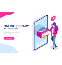 online library concept books in your phone or vector image