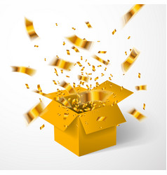 Open yellow gift box and gold confetti christmas vector