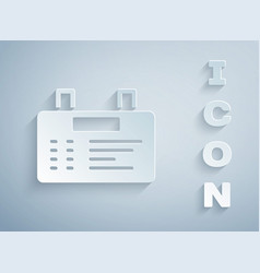 Paper cut airport board icon isolated on grey vector