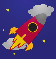 Paper rocket on night sky background vector image