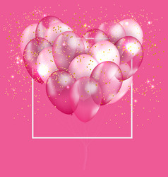 pink balloon heart background vector image