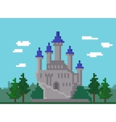 Pixel Landscape With Castle vector