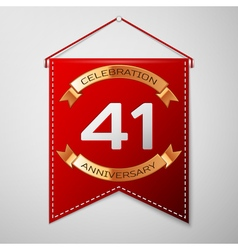 Red pennant with inscription Forty one Years vector