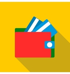 Red wallet with credit cards icon flat style vector