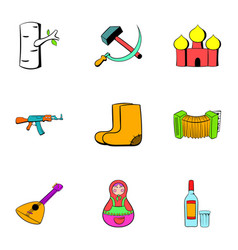 Russians icons set cartoon style vector