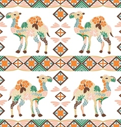 Seamless camel pattern made from flowers leaves vector
