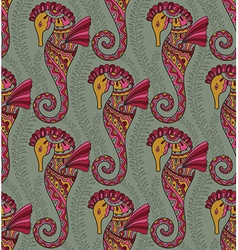 Seamless pattern of seahorses vector image