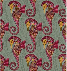 seamless pattern seahorses vector image